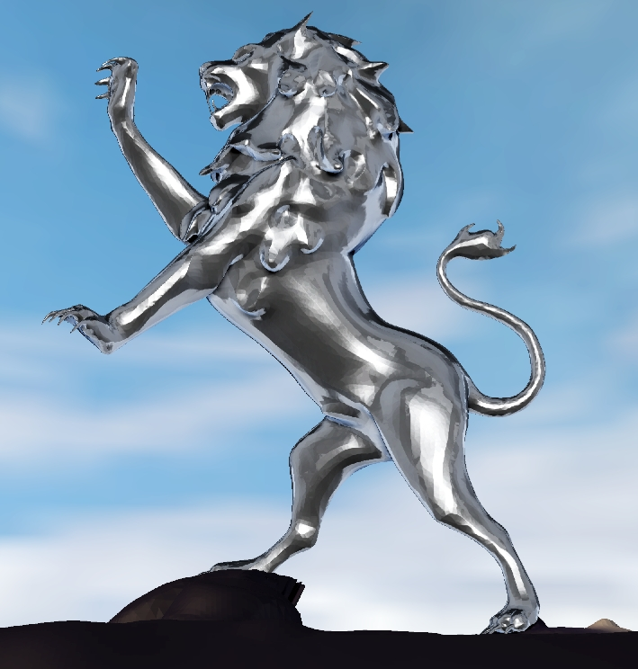 Robert the Bruce Lion of Alba stainless steel sculpture © copyright John McKenna sculpture Ltd 2013 www.a4a.co.uk Ayrshire, Scotland