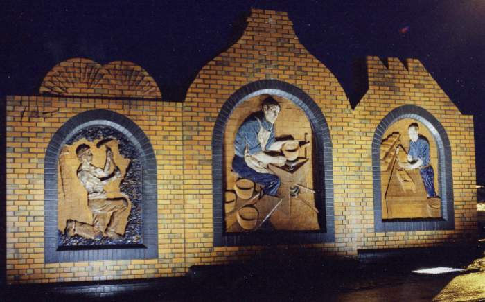 burslem triptych glazed brick sculpture relief potteries stoke on trent