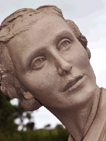 Dorothy Round Wimbledon Tennis Champion portrait sculpture statue in bronze by John McKenna A4A art for architecture foundry, Ayrshire, Scotland