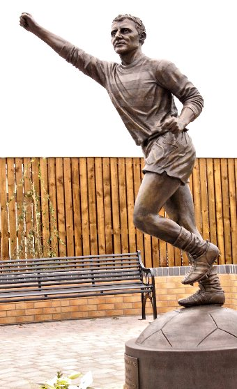 Jimmy Jinky Johnstone bronze portrait statue, Viewpark, Glasgow by John McKenna Sculptor cast at the A4a foundry, Turnberry, Ayrshire