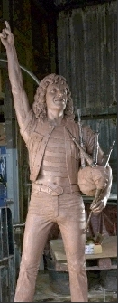claywork for JohnMcKenna05 with Bon Scott ACDC statue Kirriemuir