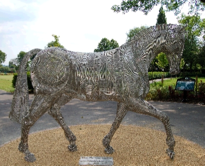 palfrey horse stainless steel fabricated public art sculpture equestrian statue