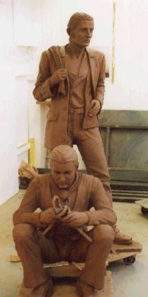 two sailors clay figurative sculpture for bronze whitehaven port the quest